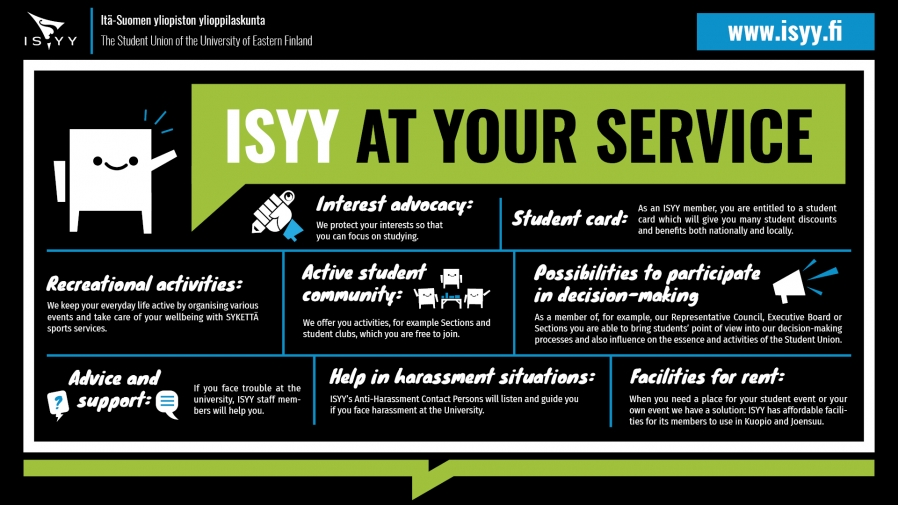 Infograph about services provided by ISYY