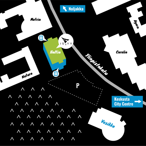 A map of the location of ISYY's campus office in Joensuu. The Joensuu campus office is located on Yliopistokatu on the second floor of Haltia building. The address is Yliopistokatu 7. Haltia building is located on the campus of the University of Eastern Finland. Haltia building is on the opposite side of the Yliopistokatu than Carelia building. Next to Haltia building are Metria building and Futura building. When walking along the Yliopistokatu away from the Joensuu city center before Haltia building there are Vesikko Reacreation Center and parking area.
