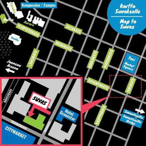 Kartta Suvaksen kokous- ja saunatiloihin. Suvas sijaitsee Suvantokadun ja Torikadun kulmauksessa olevassa rakennuksessa. Käynti Suvakselle tapahtuu rakennuksen sisäpihalta Torinkadun puolelta. Vastapäätä Torikadulla olevaa sisäänkäyntiä sijaitsee Hotelli Greenstar. Reitti Itä-Suomen yliopiston kampusalueelta Suvakselle kulkee Yliopistokatua/Koskikatua pitkin. Torikadun kohdalla käännytään vasemmalle.