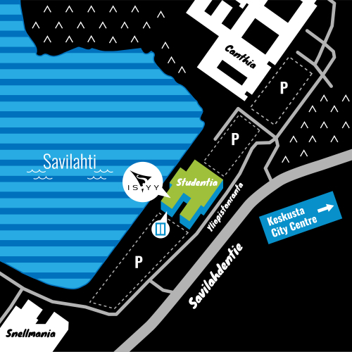 A map of the location of ISYY's campus office in Kuopio. The Kuopio campus office is located on the shore of Savilahti in the Studentia building. Its address is Savilahdenranta 3. Entrance to the office is through door C on the other end of the building. The Studentia building is located between the University's campus buildings Canthia and Snellmania and it has parking areas on both sides. Savilahdentie passes by the buildling on the opposite side of Savilahti.